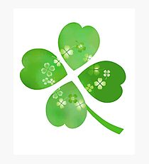Green Four Leaf Clovers St. Patrick Good Luck Art Photographic Print