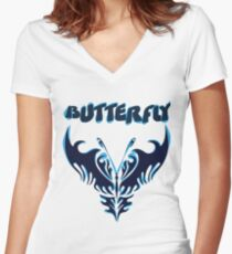 Beautiful amazing butterflies Women's Fitted V-Neck T-Shirt