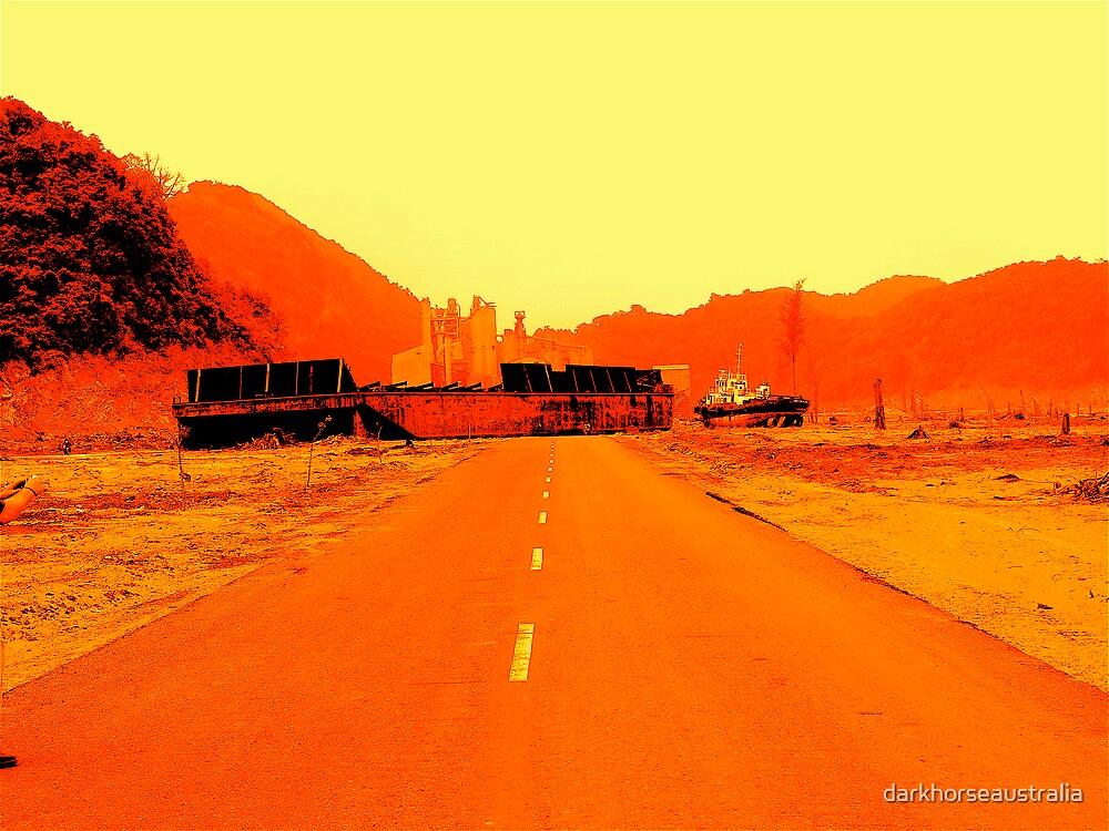 Banda Aceh --- Coal barge on road by darkhorseaustralia