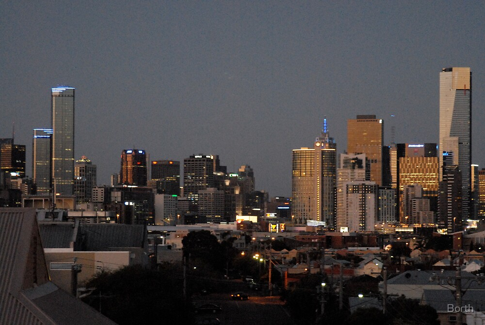 Melbourne skyline in dusk by Borth