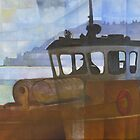 Tug and Dartmouth Castle by Bernard Barnes