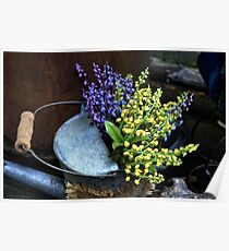 Blue and Yellow Flowers Poster