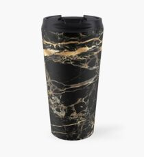 Black Marble Gold Veins Travel Mug