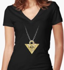 Yu-Gi-Oh! Millennium Puzzle Women's Fitted V-Neck T-Shirt