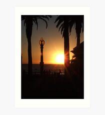 Sunset at Santa Monica Beach Art Print