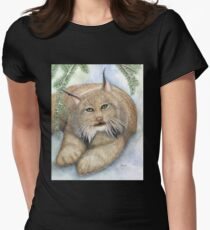 """""""LINUS""""  Canadian Lynx, First Snow Womens Fitted T-Shirt"""