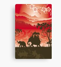 Indian Elephants and monkeys Canvas Print