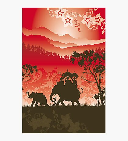Indian Elephants and monkeys Photographic Print