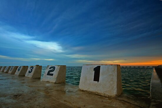 Merewether Ocean Baths at Dusk 3 by Mark Snelson