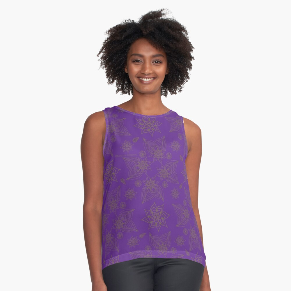 Gilded Roses Pure Violet Contrast Tank Front