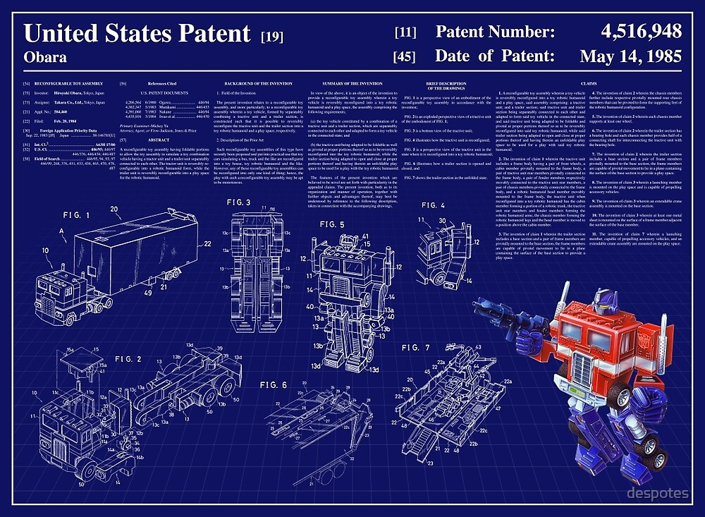 Optimus Prime Patent Art & Text by despotes