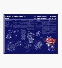 Optimus Prime Patent Art & Text Photographic Print