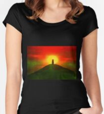 GLASTONBURY TOR SUNSET Women's Fitted Scoop T-Shirt