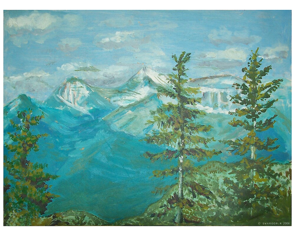 OIl paint- scenic mountains by Swaroop R