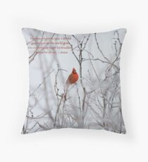 Let not your heart be troubled - Winter Cardinal Throw Pillow