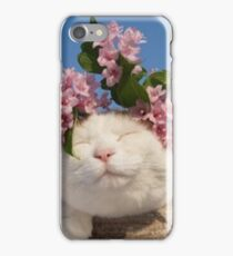 Cute Cat With Flowers iPhone Case/Skin