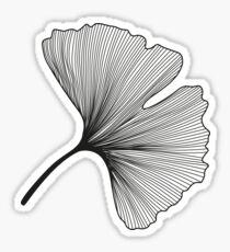 Ginkgo Biloba leaves pattern - black and white Sticker