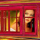 Girl in red window by © Kira Bodensted