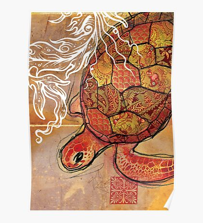 baby sea turtle- mixed media Poster