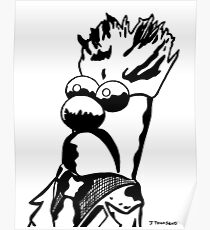 Black and White Beaker Portrait by JTownsend Poster