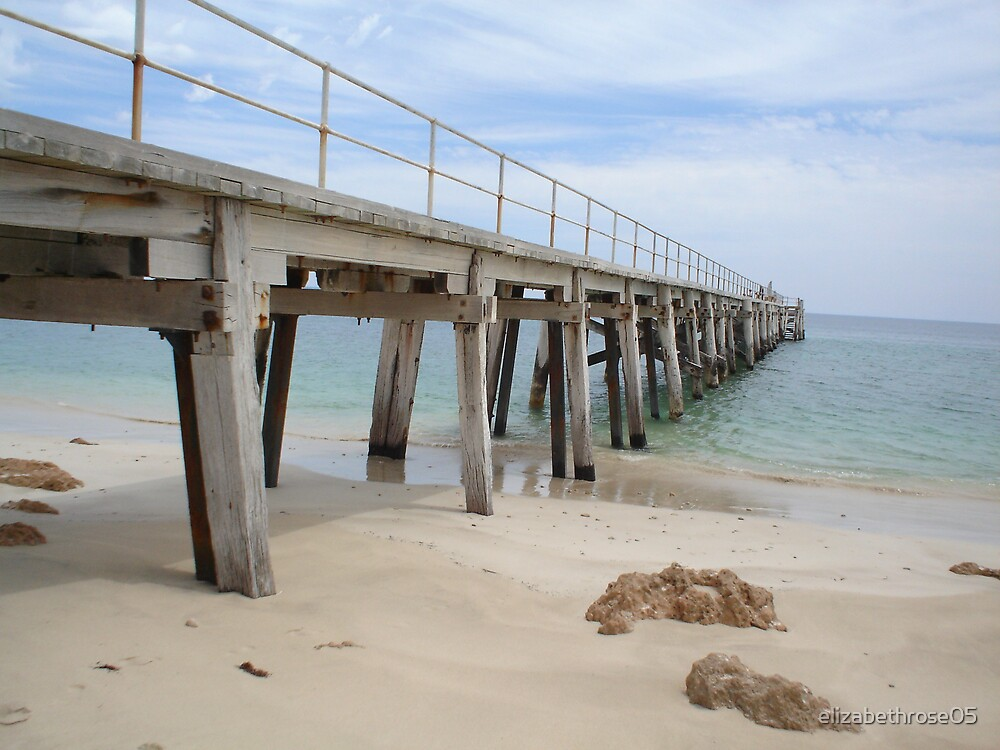 port rickaby jetty card print wall art ocean beach sea water sand  by elizabethrose05