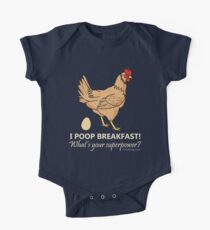 Chicken Poops Breakfast Funny Graphic Kids Clothes