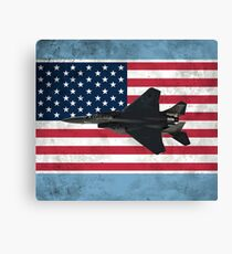F-15 Eagle Fighter Jet American Flag Canvas Print