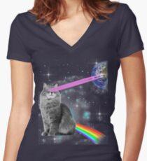 Outer Space Rainbow Kitty Cat Laser Eyes On Earth Women's Fitted V-Neck T-Shirt