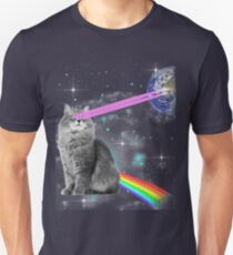 Outer Space Rainbow Kitty Cat Laser Eyes On Earth T-Shirt