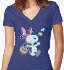 Easter Beagle   Women's Fitted V-Neck T-Shirt