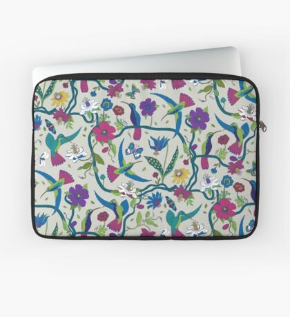 Hummingbirds & Passion flowers - on grey - pretty floral bird pattern by Cecca Designs Laptop Sleeve