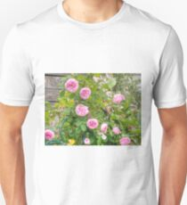 Pink Roses in the Garden 4 Unisex T-Shirt
