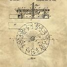 Water Wheel Hurdy Gurdy vintage blueprint patent drawing 1896 by Glimmersmith