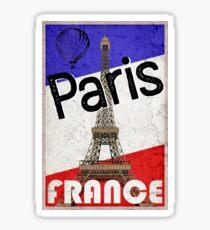 PARIS FRANCE FRENCH FLAG EIFFEL TOWER HOT AIR BALLOON DISTRESSED Sticker