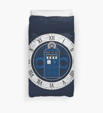 TARDIS and Clock - Doctor Who Duvet Cover
