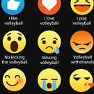 I Love Volleyball 9 emojis Illustrated Word Art Pun Funny Emoji Style Graphic Tee Shirt by DesIndie