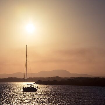 Sailing boat at sunset by halans