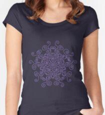 Swirl Purple Line Pattern Women's Fitted Scoop T-Shirt