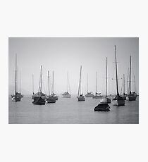 Sailing boats in fog Photographic Print