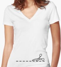 Cut Along The Dotted Line Women's Fitted V-Neck T-Shirt