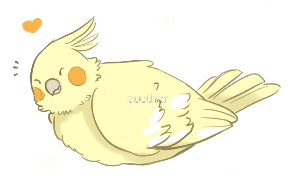 Fluffy Borb - Adorable Cockatiel by puethar