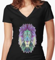 Polygon Lion Women's Fitted V-Neck T-Shirt