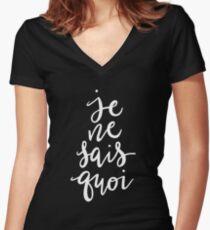 Je Ne Sais Quoi —Version 2 (Black Background) Women's Fitted V-Neck T-Shirt