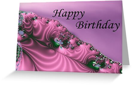 Embroidered Satin Happy Birthday (Card)   by C J Lewis