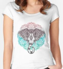Vintage ornate mandala elephant with tribal ornaments. Women's Fitted Scoop T-Shirt