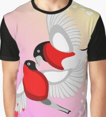 Bullfinch Birds kissing in hearts Graphic T-Shirt