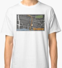 Glasgow Scotland City Center Cartography Map Illustration Classic T-Shirt