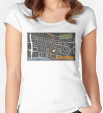 Glasgow Scotland City Center Cartography Map Illustration Women's Fitted Scoop T-Shirt