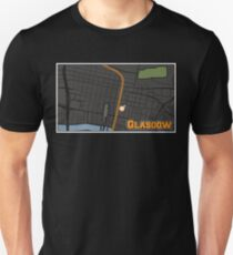 Glasgow Scotland City Center Cartography Map Illustration Unisex T-Shirt