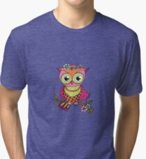 Cute colorful cartoon owl sitting on tree branch Tri-blend T-Shirt